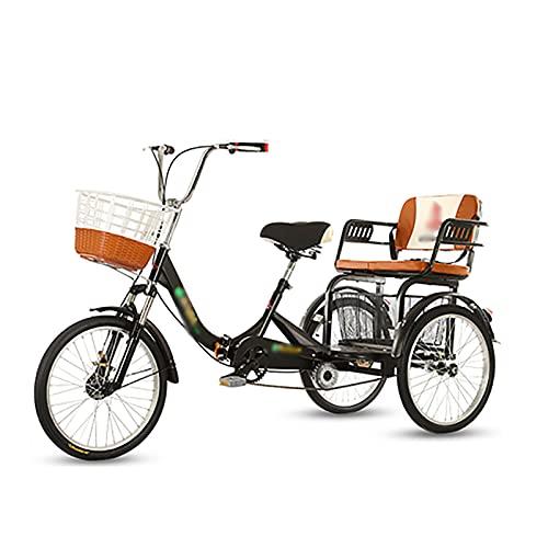 T-Day Triciclo para Adultos Tres Ruedas Crucero Bicicleta De Dos Plazas Adulto Triciclo 20in Bicicletas De 3 Ruedas con Cesta De Compras Diseño Tradicional para Personas Mayores(Size:Black)