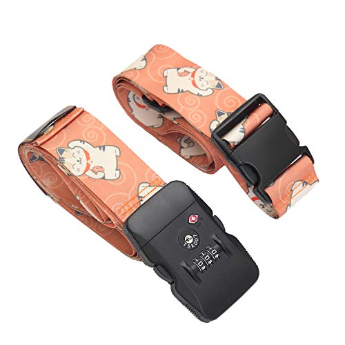 Adjustable Luggage Straps Suitcase Belts Cross with TSA Approved Combination Lock Travel Attachment Accessories Packing Straps
