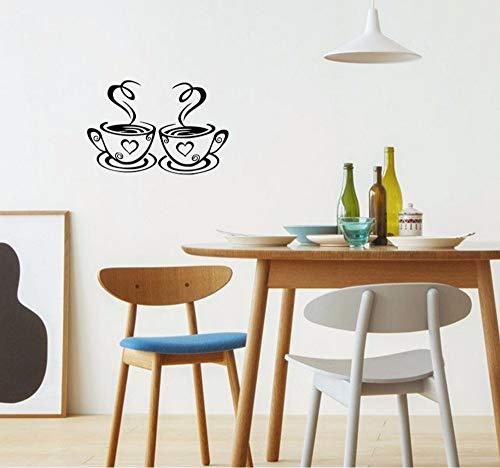 Hanjiming dubbele koffie bekers muur Stickers op de keuken Vinyl Art muurstickers lijm behang kamer decoratie huisdecoratie