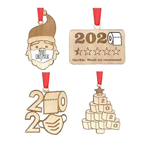 ISABOMB 2020 Christmas Ornament Quarantine Funny, Social Distancing Santa Claus with Mas'k - Toilet Paper Ornament - 2020 Would Not Recommend - Merry Christmas
