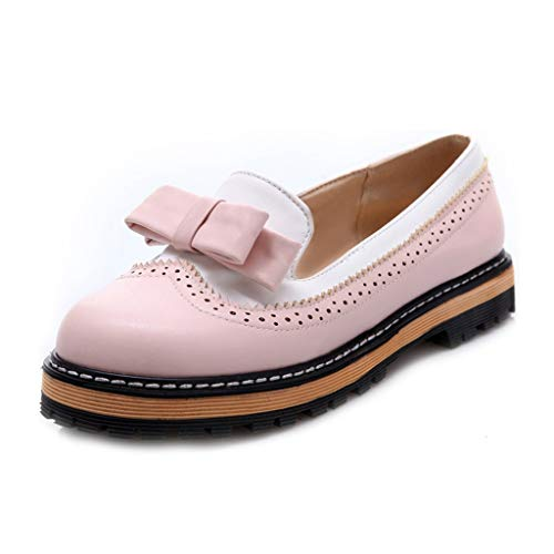 MIOKE Women's Flat Bow Oxford Shoes Two Tone Slip On Perforated Low Heel School Uniform Oxfords Brogues Pink