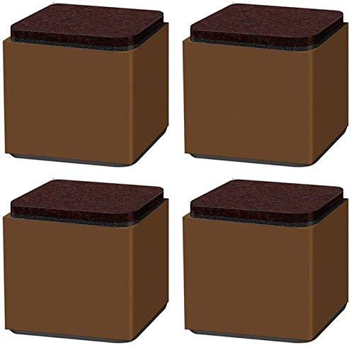 Antideslizante Muebles Elevación del cojín X4, café Pies Mesa de Apoyo, Pata de la Mesa de ratón, Adecuado for sillas, mesitas de Noche, 60x60x52cm (Color : Brown)