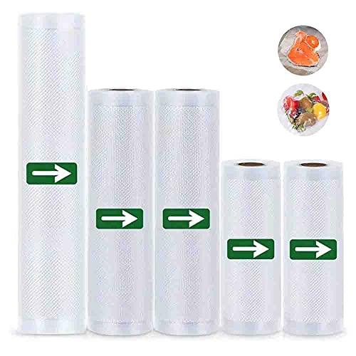 "Vacuum Sealer Bags Rolls-5 Pack(6"" x 20'/8"" x 20'/11"" x 20') Heavy Duty Vacuum Food Saver Bags for Vac Storage,Great for Meal Prep or Sous Vide,Work with Foodsaver Vaccum Sealer,BPA Free"