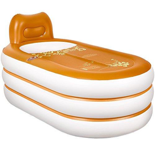 BYBYC Aufblasbare Badewanne Badewanne SPA PVC Folding Portable für Erwachsene mit Luftpumpe Haushalt Inflatable Tub,Gold