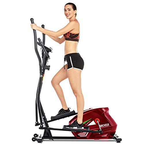 FUNMILY Eliptical Exercise Machine,Elliptical Cross Trainer for Home Use,Heavy-DutyGym Equipment for Indoor Workout & Fitness with 10-Level Resistance&Max User Weight:390lbs. (Red)