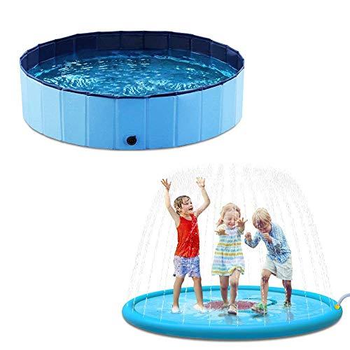 Jasonwell Foldable Dog Pool Collapsible Dog Pet Pool Bathing Tub Kiddie Pool and Splash Pad Sprinkler for Kids Splash Play Mat 68