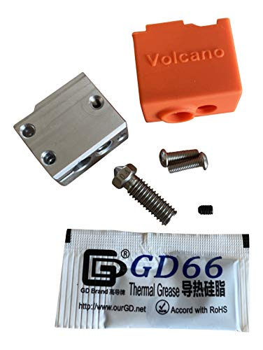 3DPLady | Volcano V2 Heatblock für hohe Temperaturen + Volcano Stahl Nozzle 0,4 +Silikon Socke