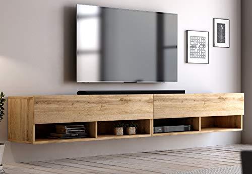 GuenstigEinrichten TV Unterteil TV Lowboard Epsom in Wotan Eiche hängend Fernsehschrank (XL 200 x 30 cm)