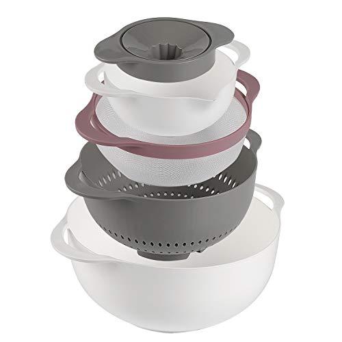 Shopwithgreen 5-teiliges Rührschüsseln-Set/Nest 5 Plus-Speisevorbereitungs-Set Mit manueller Entsafter -Küchenschüssel set Multifunktional & Mehrverwendung & Mosaikierbar