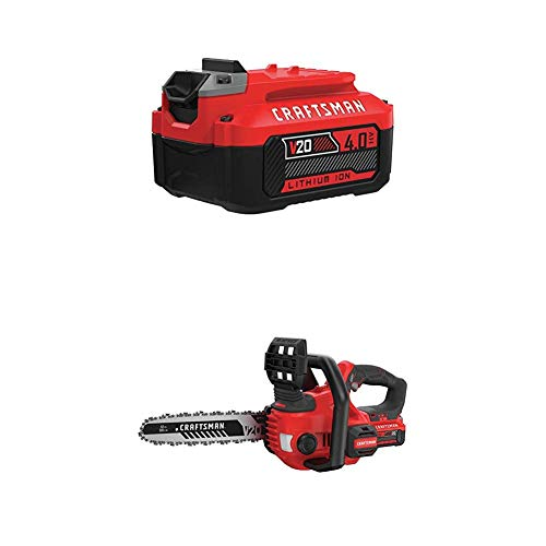 CRAFTSMAN V20 Cordless Chainsaw Kit, 12-Inch with Extra 4.0Ah Battery (CMCCS620M1 & CMCB204)