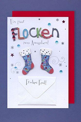 Tarjeta de felicitación de Navidad de dinero y aplicaciones de copos botas...