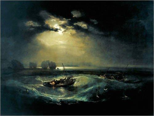 Posterlounge Leinwandbild 130 x 100 cm: Fischer auf See von Joseph Mallord William Turner - fertiges Wandbild, Bild auf Keilrahmen, Fertigbild auf echter Leinwand, Leinwanddruck