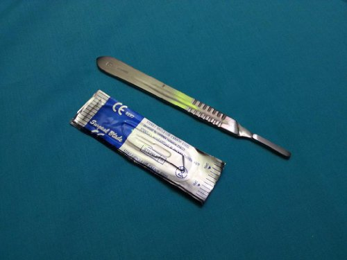 1 Stainless Steel Scalpel Knife Handle #4 with 20 STERILE Surgical Scalpel Blades #20 & #21 (HTI BRAND)