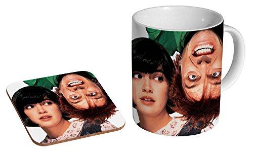 Keramik-Kaffeetasse mit Untersetzer, Design Drop Dead Fred