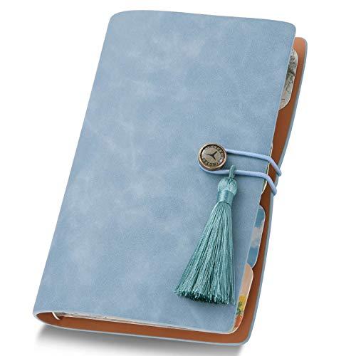 A6手帳 トラベラーズノート 6穴リング メモ帳 ビジネスノート システム手帳 ルーズリーフ式 バインダーノート インデックス/ルーラー/収納袋/ステッカー/リフィル(青い-1)