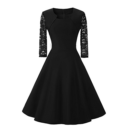 Vintage Lace Wedding Dress for Womens O Neck Three Quarter Sleeve Cocktail Party Dress Black