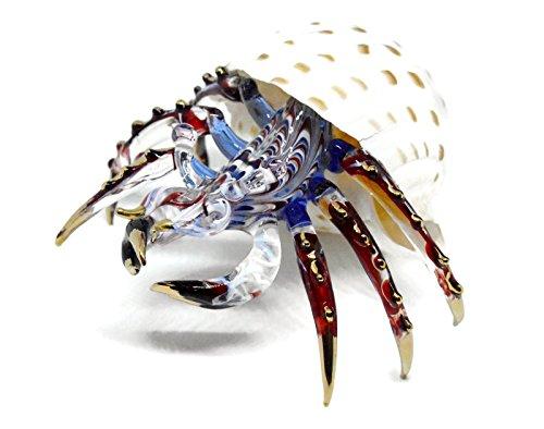 NaCraftTH Glas Figur Einsiedler Krabbe in Seashell Murano Glas Blow Kunstwerk Handwerk Kristall Ocean Sea Tier Figur Fisch Tank Aquarium Decor 4