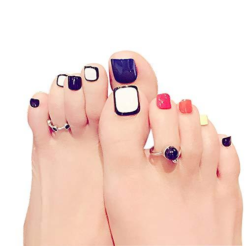 Beashine Künstliche Nägel, 24 Falsche Nägel, Füße Nagel für Acryl Full Cover Gefälschte Zehennägel Für Mädchenund Frauen. natur blickdicht für Nail-Salons und DIY Nail Art inklusive Kleber(Fuß J42)