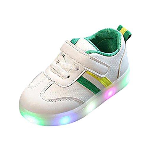 FNKDOR Baby Kleinkind Kinder LED Leuchtschuhe Weiß Turnschuhe Striped Sneaker(23,Grün)