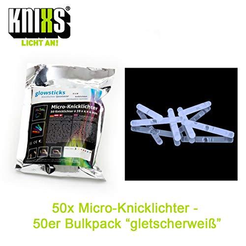 Micro / Mini Knicklichter Bulk Pack - 50 Stück/Tüte - Gletscherweiß Leuchtend für Party / Angelsport (Bissanzeiger) / Luftballons oder als Dekoration für Ketten, Ohringe oder Haarschmuck