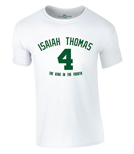 Isaiah Thomas 4 T-Shirt The King in The Fourth Basketbal NBA Boston Celtics Jersey Trikot (L, Weiß)