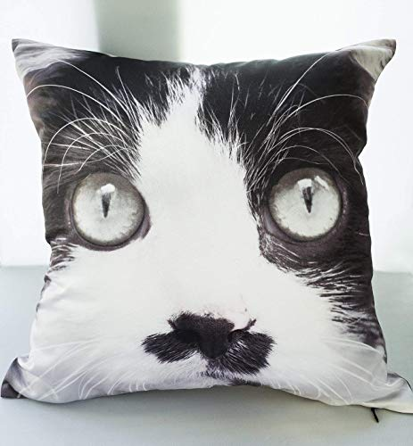 Black and White Cat with Dirty Nose, Kitty Pillow Case, Cushion Cover 18x18 inches