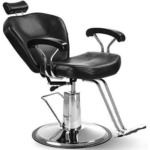 GRASSAIR Chaise de Coiffeur, Chaise de Salon de Coiffure en Cuir PU Pompe hydraulique Fauteuil de Coiffure Équipement de Chaise de beauté de Salon de Spa Pivot d'inclinaison hydraulique