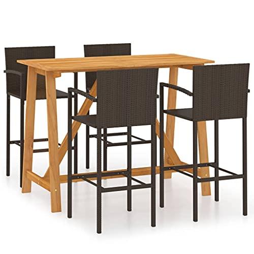 Juego de Muebles de jardín, Juego de Comedor al Aire Libre, Mesa y sillas para Patio, Juego de Barra de jardín de 5 Piezas, marrón