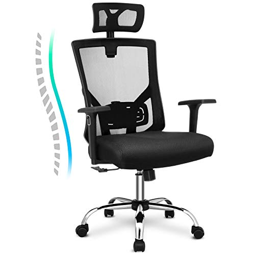 VANSPACE High Back Mesh Chair, Ergonomic Office Chair, Executive Swivel Computer Chair Desk Chair with Lumbar Support, Adjustable Headrest, Armrest and Thick Seat Cushion 330lbs