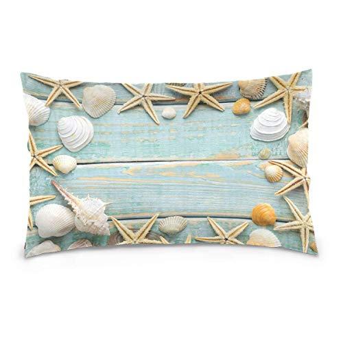 Sdltkhy Funda de Almohada 20 x 26 Pulgadas Starfish Seashell Funda de Almohada de Madera para Cama con Cierre de Cremallera Regalo Decorativo para niñas fo