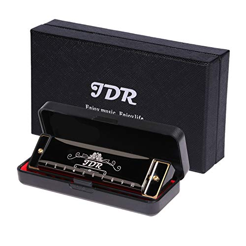 JDR Blues Harmonica Key of C 10 Hole 20 Tones for Beginner, Kids, Adults, Musician, Suitable for Any Occasion, Like Blues, Folk, Jazz and Pop