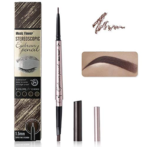 Music Flower Eyebrow pencil with Dual Ends, Eyebrow pen Brow Pencil Dark Brown