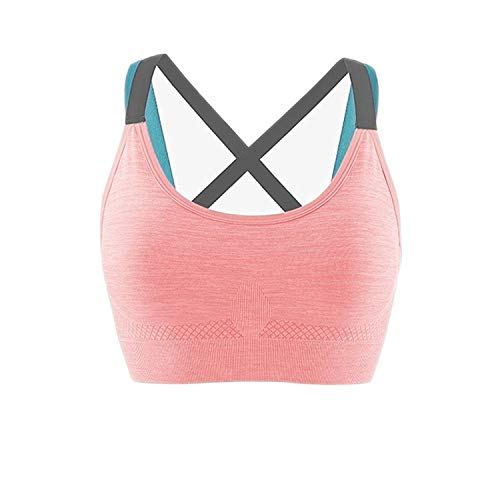 Ritu-Creation Women's Full Coverage Quick Dry Padded Shockproof Cross Back Sports Bra with Removable Soft Cups - (Light Orange, Free Size)