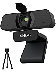 2K Webcam per PC con microfono, fotocamera USB per computer desktop e laptop con copertura per la privacy e treppiede,riduzione del rumore, grandangolo a 110 gradi, plug and play