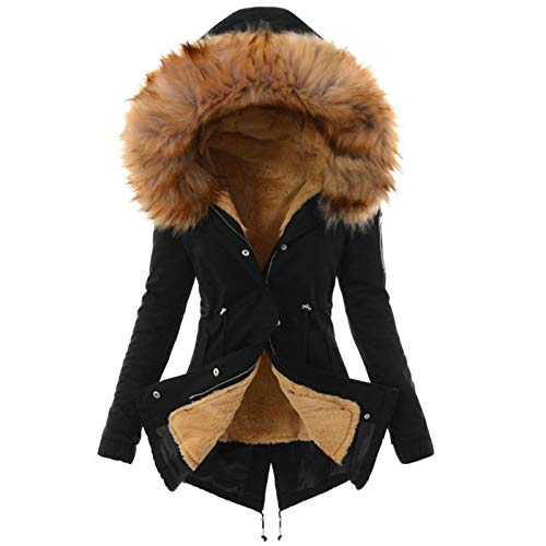 Mujeres de Invierno con Capucha de imitación de Invierno Abrigo de Abrigo de Abrigo con cordón y Collar de Pelusa Damas Delgadas,Black Yellow,3XL