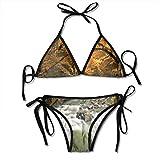 Conjunto de bikini de dos piezas de mujer River con rocas en otoño Forest Lush para mujer Strappy Top Padded Swimsuit de dos piezas