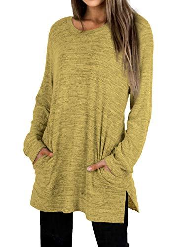Crewneck Sweatshirts Women Tunic Tops Long Sleeve Plus Size Side Split Yellow 2XL