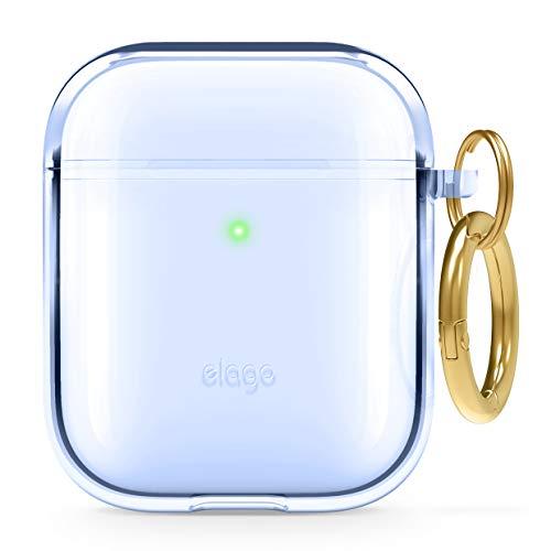 Elago Custodia TPU Clear Compatibile con Apple AirPods 2 & 1 - Premium TPU, Riduce L'Ingiallimento, Niente Segni, Supporta Ricarica Wireless (Aqua Blu)