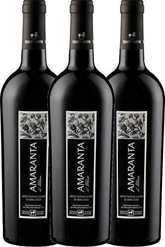 VINELLO 3er Weinpaket Rotwein - AMARANTA Montepulciano d'Abruzzo DOC 2017 - Tenuta Ulisse mit Weinausgießer | trockener Rotwein | italienischer Wein aus Abruzzen | 3 x 0,75 Liter