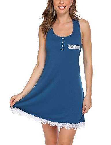 Avidlove Nachthemd Damen Kurz Schlafshirt Ärmellos Nachtwäsche Negligee Nachthemden Sexy V-Ausschnitt Nachtkleid Sommer Sleepwear