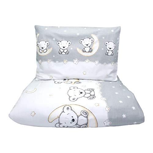 Callyna ® - Parure de lit bébé 100% Union Européenne, housse de couette bébé 135 x 100 cm et taie d'oreiller 60 x 40 cm. 100% coton. Ourson Gris Beige