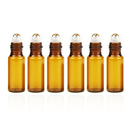 Yizhao Ambar Botellas Roll On Cristal para Aceites Esenciales 5ml, con Roll-on Bola de Acero Inoxidable, para Aceites Esenciales, Masajes, Aromaterapia, Botella de Laboratorio – 6 Pcs