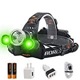 BORUIT LED Headlamp - Ultra Bright 5000 Lumens 3 Lighting Modes White Green Light IPX4 Waterproof Head Lamp USB Rechargeable Headlamps for Adults Outdoor Fishing Camping Hunting