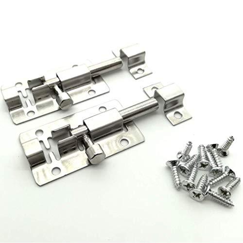 DDTing - Cerrojo deslizante de seguridad para puerta con acero sólido resistente para mantenerte seguro y privado - 2 pulgadas de pestillo deslizante de puerta + juego de tornillos GoodService pack de 2
