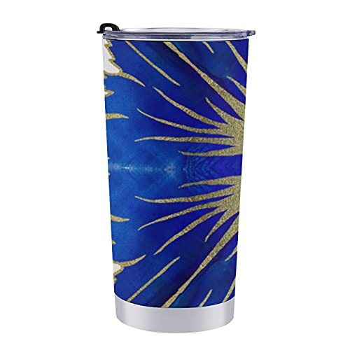 Taza de viaje de doble pared de acero inoxidable de 20 onzas con tapa a prueba de salpicaduras sin BPA - Azulejos Portugueses Azulejos