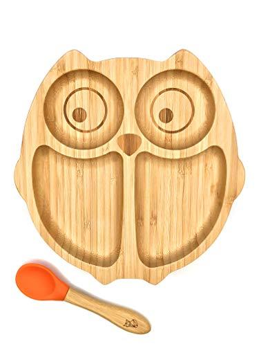 **NEU** KLEINER FUCHS präsentiert | Babyteller aus Bambus mit rutschfestem Saugnapf und passendem Baby-Löffel | Hochwertiges Babygeschirr Set in einer stylischen Geschenk Box (Eule)