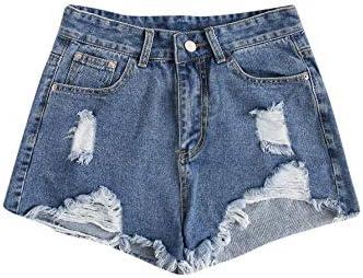 SweatyRocks Women s Casual Ripped Denim Shorts Frayed Raw Hem Jeans Shorts Blue XS product image