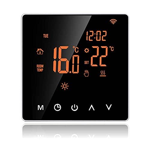 Control de calefacción con pantalla táctil LCD termostato digital con conexión WiFi, programable inteligente, control de aplicación para calefacción de agua (negro)