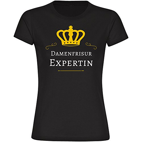 Damen T-Shirt Damenfrisur Expertin - schwarz - Größe S bis 2XL, Größe:XXL