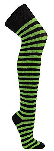Krautwear® Damen Gestreifte Overknees Strümpfe Ringelstrümpfe Karneval Fasching Cosplay 80er Jahre (schwarz-grün)